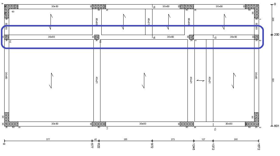 Ubicazione dei pilastri aggiuntivi 30x30