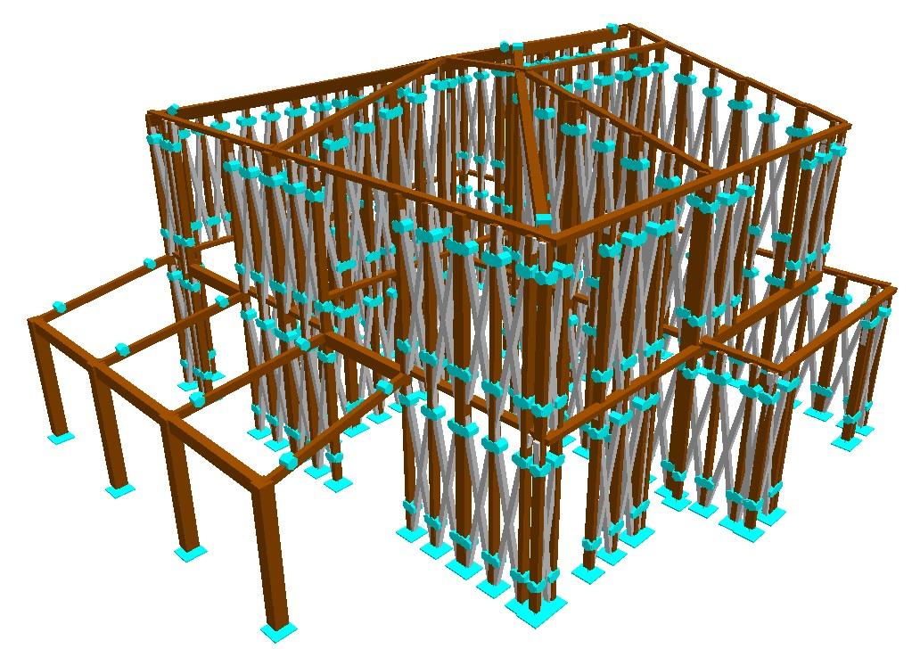 """Modello strutturale completo di una struttura """"Platform Frame"""""""
